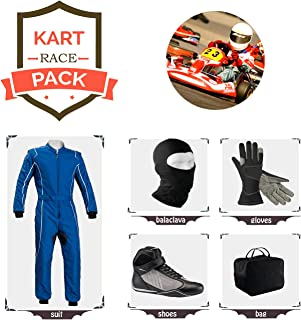 Go Kart Racing Suit Suit,Gloves,Balaclava and Shoes Free Bag - Blue with White Line Design