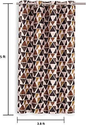 Amazon Brand - Solimo Aria Polyester Curtain, Window, 5 feet (1.52 m), Brown, Pack of 2