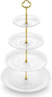NWK 3/4-Tier Cupcake Stand with Crystal Clear Plates and Gold Metal Struts Dessert Tower Display Rack Serving Tray for Wedding Birthday Spring Graduation Baby Shower Party