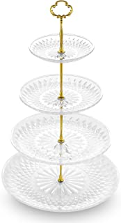NWK 4-Tier Cupcake Stand with Crystal Clear Plastic Plates and Gold Metal Struts Dessert Tower Display Rack Serving Tray for Wedding Birthday Autumn Thanksgiving Halloween Baby Shower Party