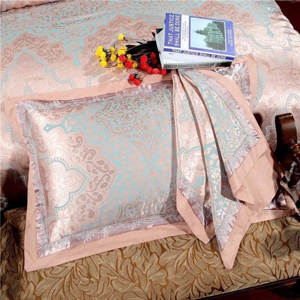 WANGCY Ensemble de literie de Jacquard, Drap de lit de Satin de Coton en Soie Facile à Entretenir Lavable en Machine Blue 1