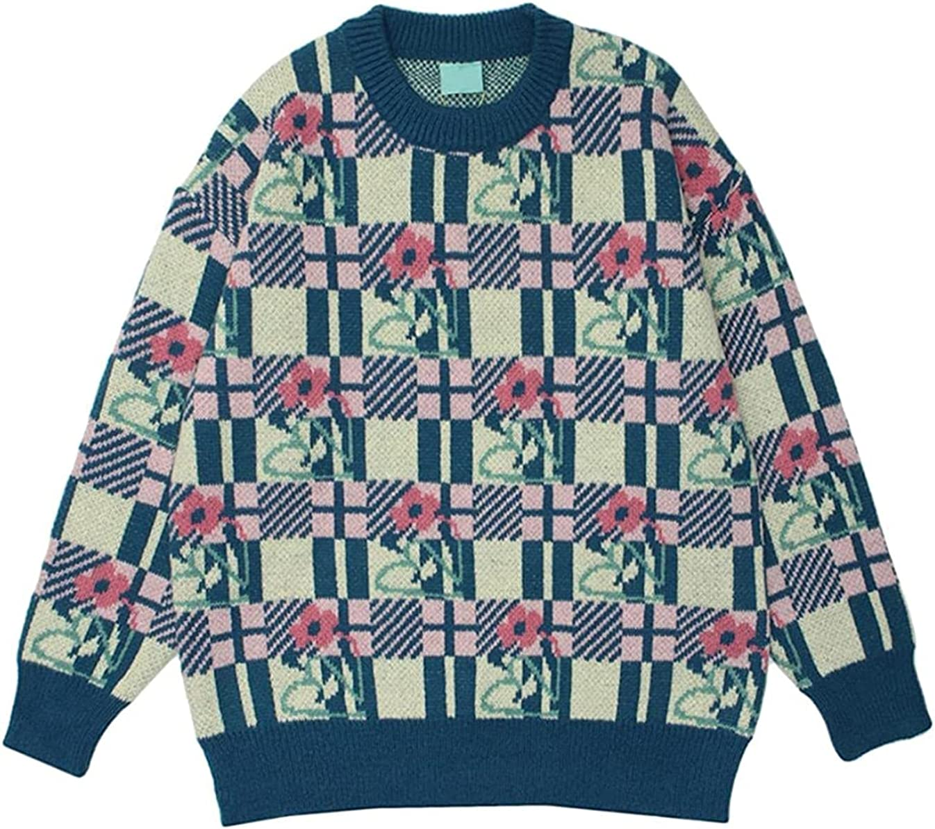 Floral Plaid Sweater for Men Autumn Pullover Knitwear Oversized Korean Style Sweater Couple Clothing