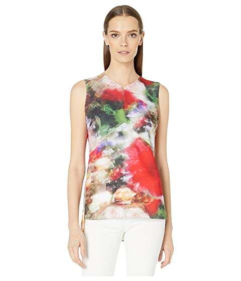 Adam Lippes Printed Hammered Silk V-Neck Shell Blouse