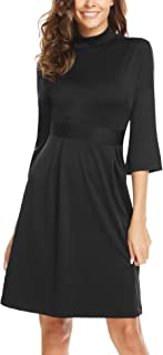 ANGVNS Women's Casual Mock Neck Flare Sleeve High Waist A-Line Skater Dress