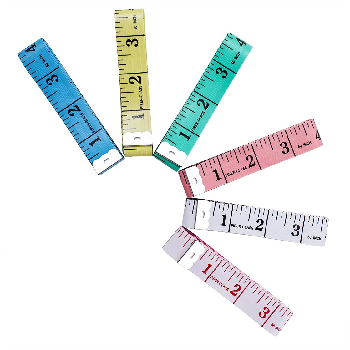 Tape Measure Soft Plastic 150cm/60inch Double-Sided Tape Measure for Sewing Tailor (Pack of 6)