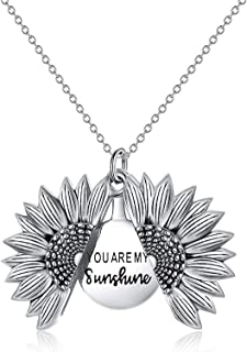 You are My Sunshine Engraved Necklace, Sunflower Locket Necklace for Women Girls Kids