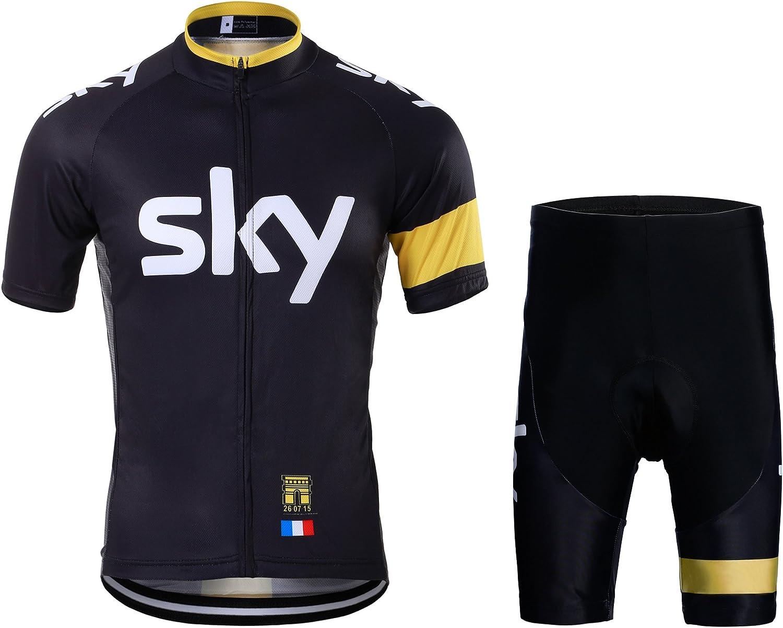 FASTONT Men's Cycling Jersey Breathable Full-Zipper 3D-Padded Short Set