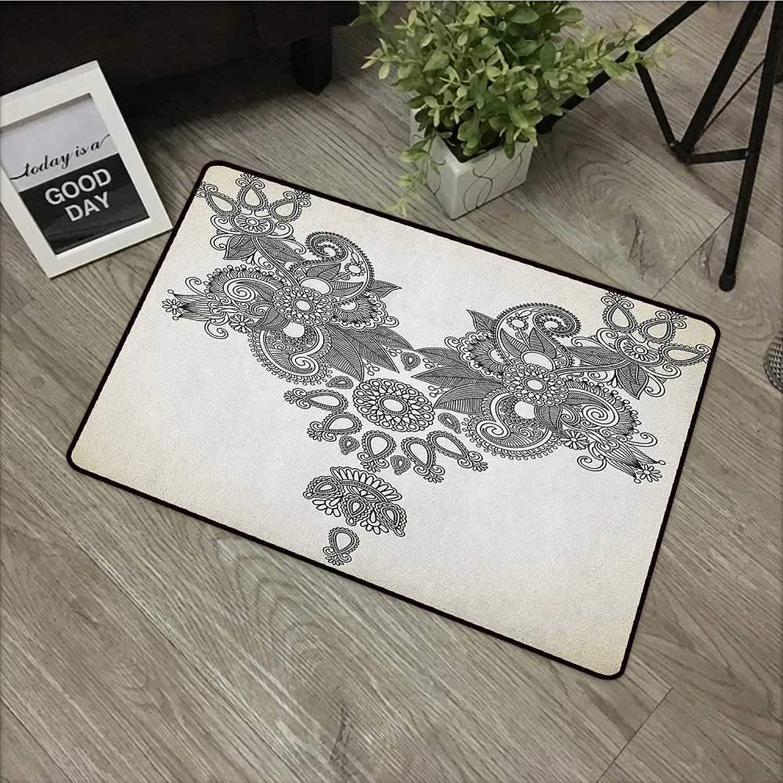 Bathroom Anti-Slip Door mat W35 x L59 INCH Henna,Far Eastern Vintage Fashion Ornamental Paisley Abstract Artwork with Oriental Effect, Cream Black with Non-Slip Backing Door Mat Carpet