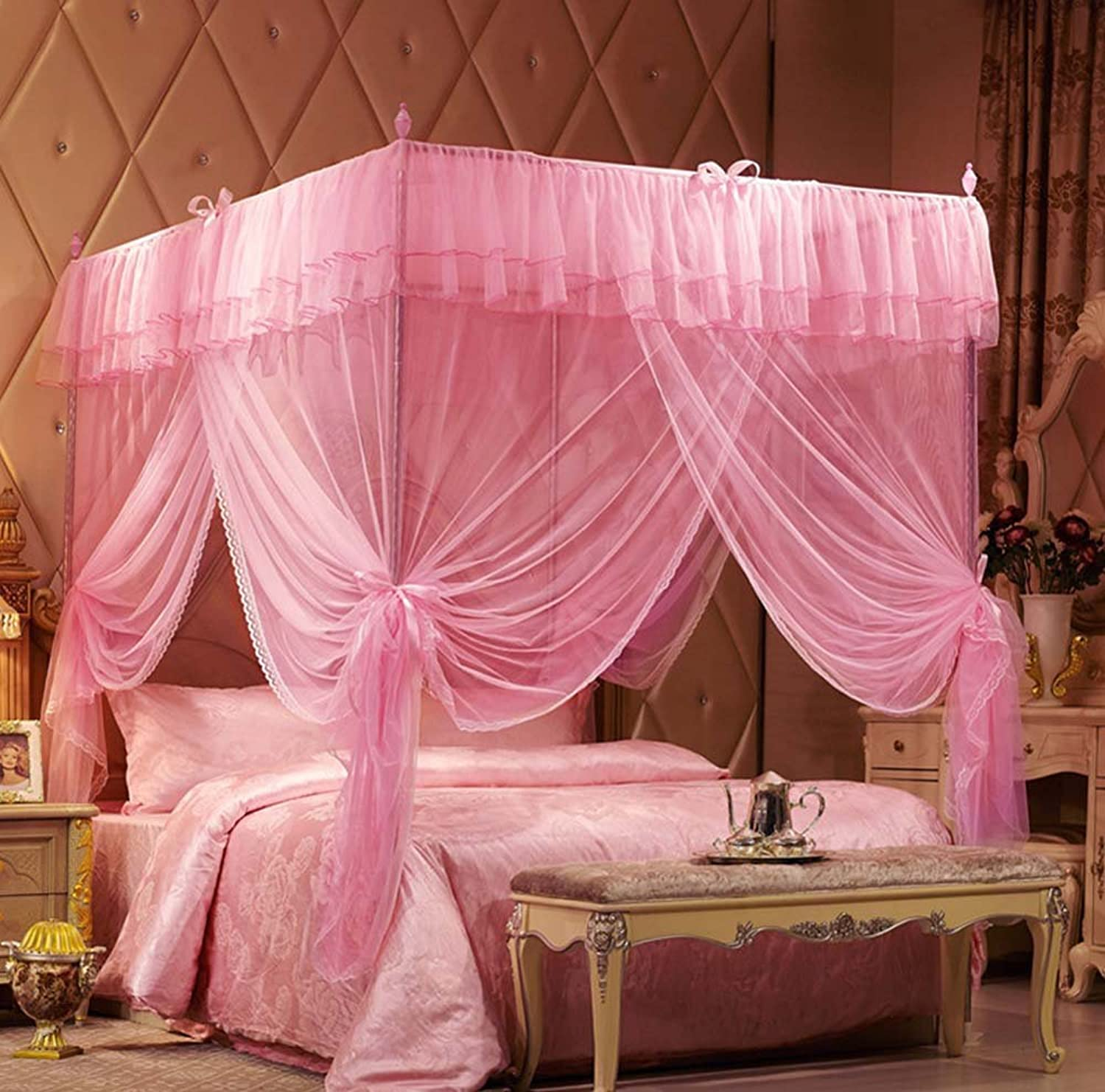 Nattey Pink Princess Bedding Canopy Mosquito Netting With Frame(Post) Twin Full Queen King Size (Queen)