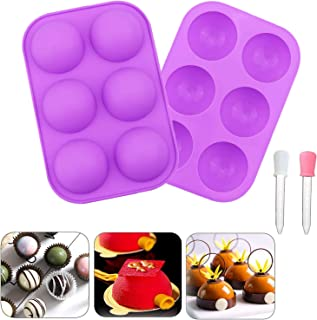 6-Cavity Semi Sphere Silicone Mold, 2 Packs 6 Holes Baking Mold for Making Hot Chocolate Bomb, Cake, Jelly, Dome Mousse, P...