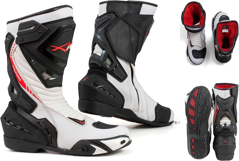 Stivali Moto da Pista Racing Professionale Antiscivolo Traspirante Impermeabile Bianco, 42