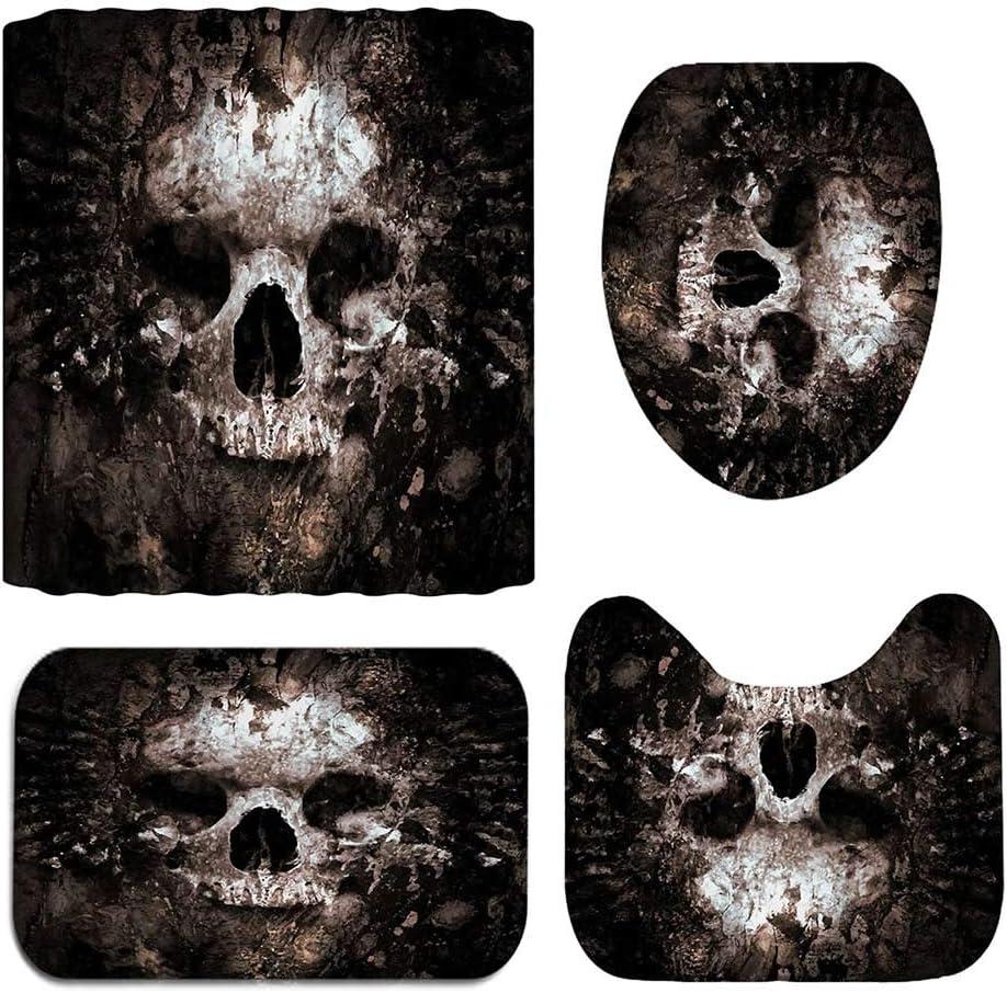 weituoli Bathroom Mat Set Toilet Seat Cushion Cartoon Polyester 4pcs//Set Hallloween Skull