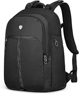 """SHIELDON 24L Travel Backpack, 17.3"""" Laptop Backpack Business Backpack with Reflective Strip Water Resistant Multipurpose Carry-on College School Computer Bag Daypack for Men & Women - Black"""