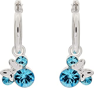 Minnie Mouse Birthstone Jewelry for Women and Girls, Minnie Mouse Crystal Hoop Earrings (More Colors Available)