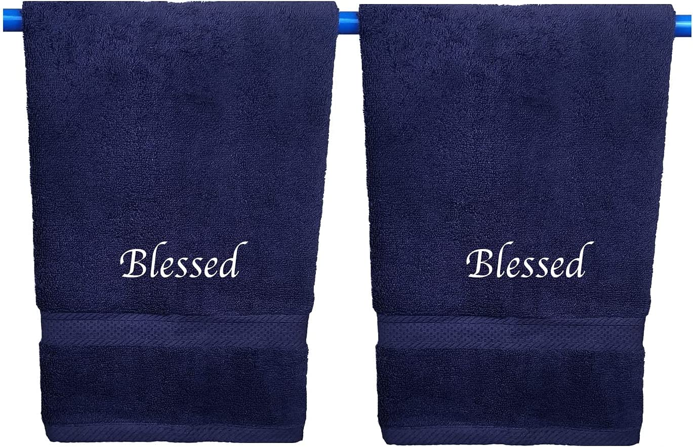 Embroidered Hand Towels with Inspirational S Message: 1 Blessed Time sale Japan Maker New