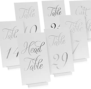 Elegant Silver Wedding Table Numbers in Double Sided Silver Foil Lettering with Head Table Card - 4