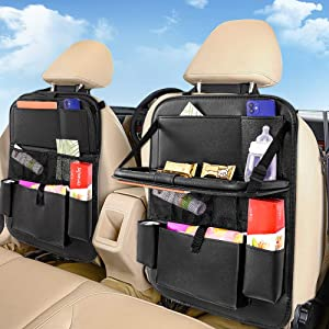 Car BackSeat Organizer with Table Tray for PU Leather Foldable Dining Table Desk Back Seat Tablet Ipad Holder Tissue Storage Bag Pockets for Kids Travel Travel Accessories Organizer 1 PACK
