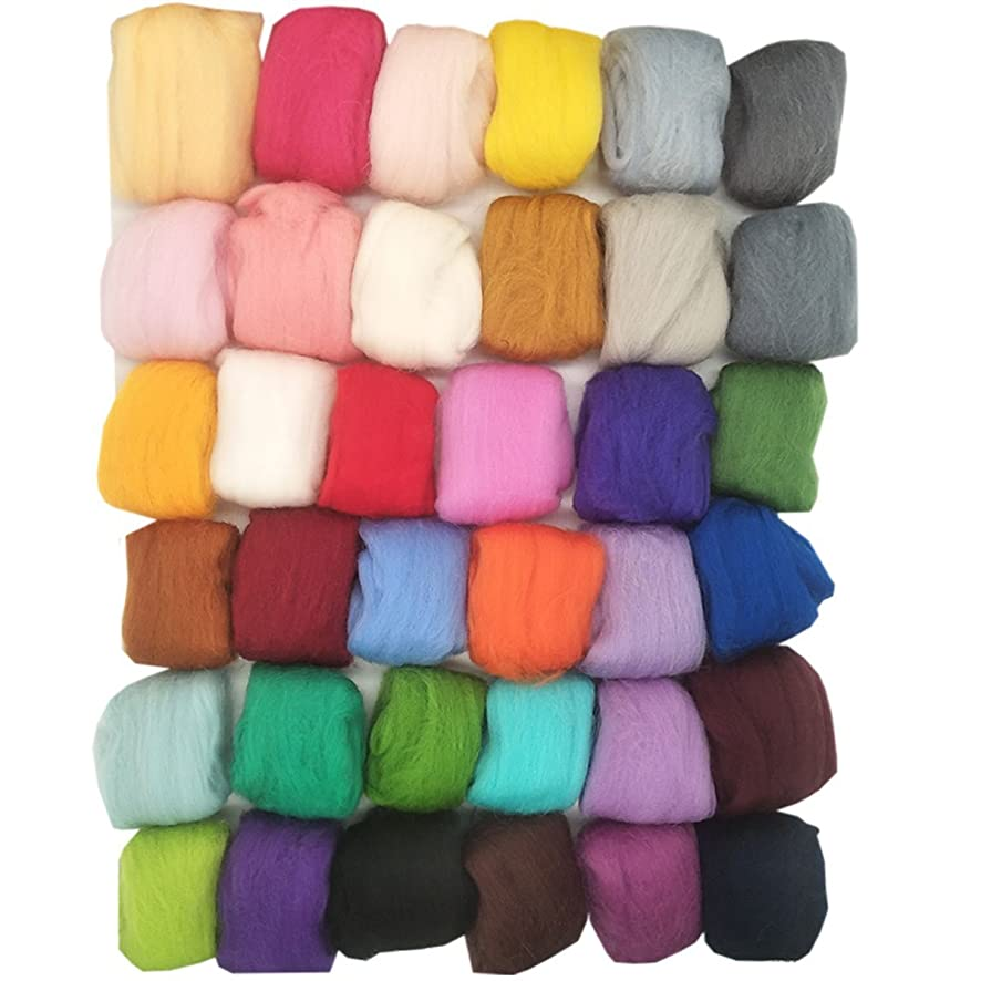 Misscrafts Felting Wool 36 Colors Wool Roving Fibre Needle Felting Supplies 36 x 5g Roving Wool for DIY Felting Craft