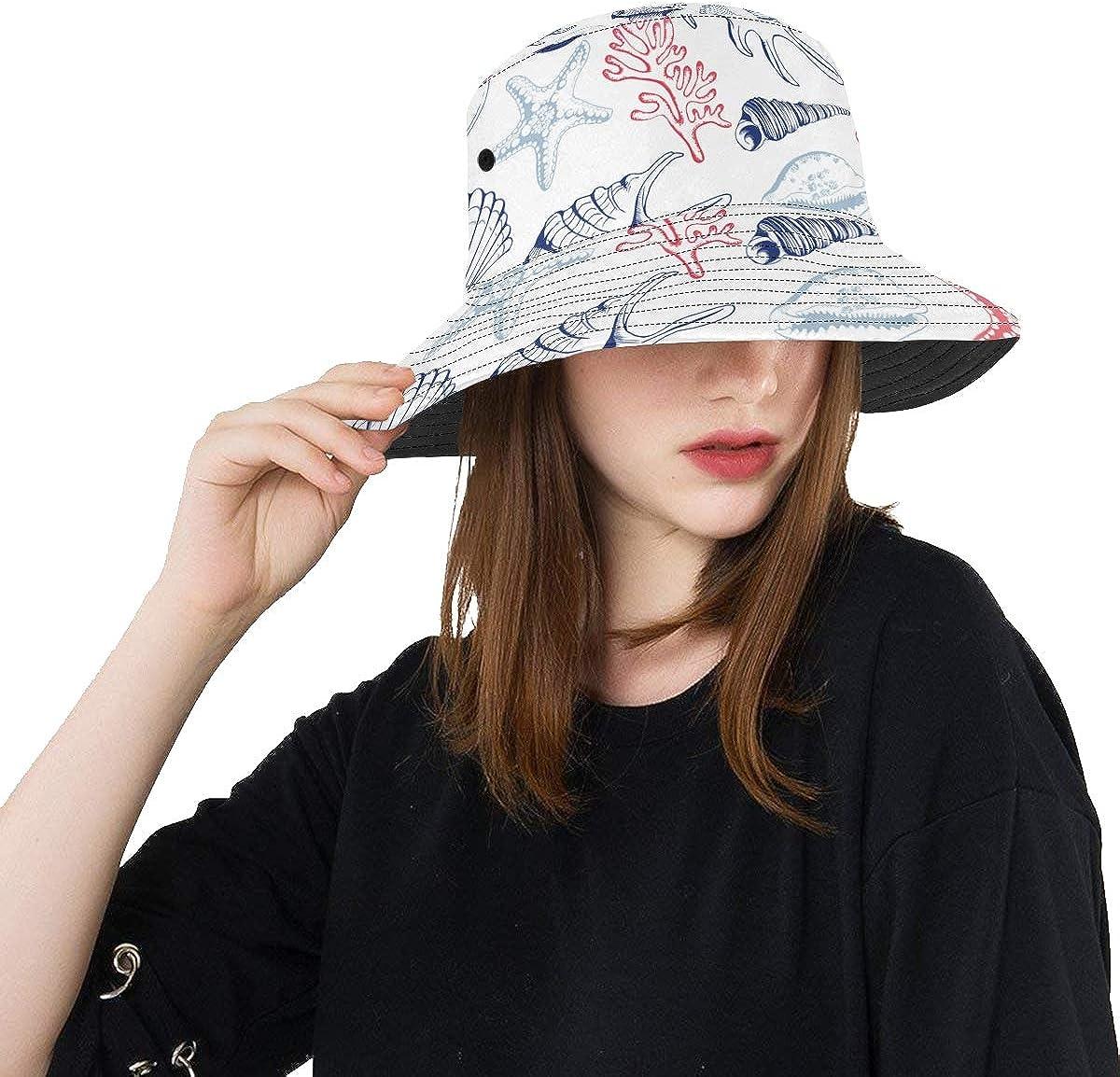 Beach Hat Black Sea Shells Little Max 85% Super sale period limited OFF Pretty Unisex S Summer Fishing