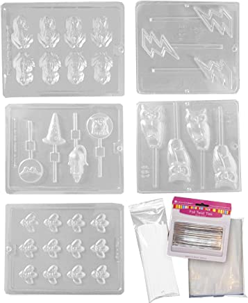 Harry Potter Chocolate Frog Mold Kit - Includes 5 Molds, 100 Sticks, 100 Bags