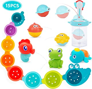 PEAINBOX 15PCS Bath Toys for Toddlers with Stacking Cups and Mold-Free Squirters,Toddler Pool Toys with 2 in 1 Basketball Hoop&Fish Net,Educational Bathtub Bath Toys for 1 2 3 4 Year Old Boys Girls