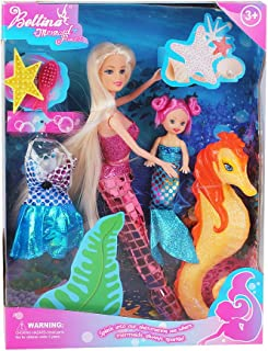 Bettina Mermaid Princess Doll with Little Mermaid & Seahorse Play Gift Set | Mermaid Toys with Accessories and Doll Clothes for Little Girls