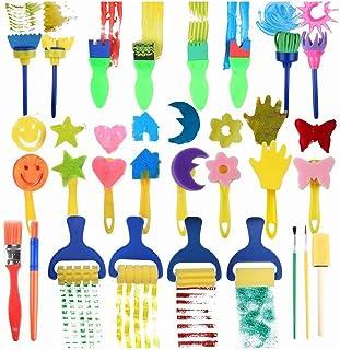 Uniquk 25 Pieces Brosses de peinture en eponge des enfants pour l'apprentissage precoce, Brosses d'Eponge de Fleur, Outils...