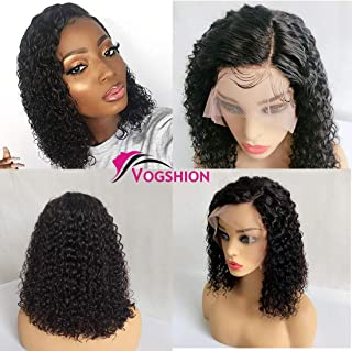 Vogshion Hair 13x4 Lace Front Wigs Human Hair Short Bob Wigs Pre Plucked Baby Hair Curly Brazilian Remy Hair Wigs With Bleached Knots Natural Color (12 inch with 150% density)