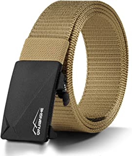 Men's Belt with Breathable Nylon Canvas Webbing and Quick-Release Ratchet Automatic Slide Buckle