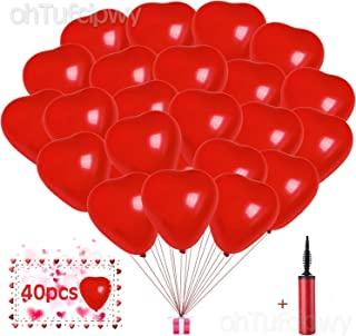 Heart Balloons - 40 Pieces 10 Inch Red Heart Latex Balloons - Valentine's Day Balloons - Happy Valentine's Day Balloons - Engagement - Birthday Party Decor - Halloween, Christmas Balloons Decorations