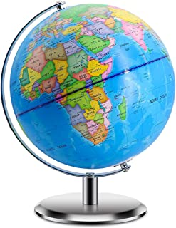 "World Globes for Kids – Size 9"" Educational World Globe with Stand Adults.."