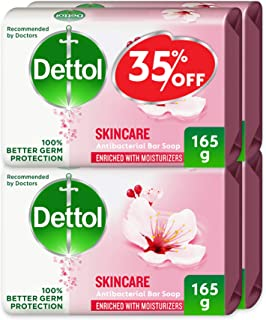Dettol Skincare Anti-bacterial Bar Soap 165g Pack Of 4 At 35% Offer - Rose & Blossom