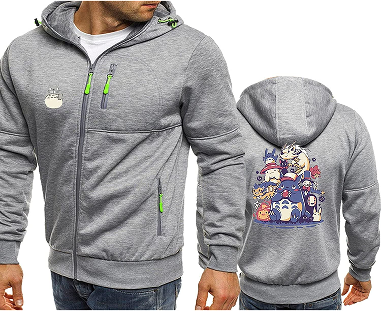 Unisex Hoodie Zip up Totoro Hooded Pullover Casual Long-Sleeve Autumn Winter Hoodies Sweatshirts with Drawstring Pockets