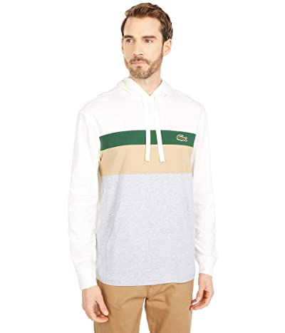 Lacoste Long Sleeve Color-Blocked Hooded T-Shirt (Flour/Green/Viennese/Silver Chine) Men