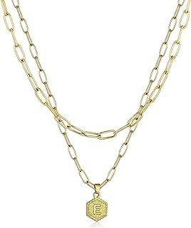 a-z Letter Necklaces for Women - 14k Gold Chain Initial Letter Pendant Necklace,Simple Cute Hexagon Letter Pendant Initial...