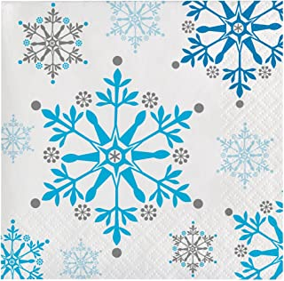 Creative Converting Holiday Snowflake Swirls Beverage Napkins 16-Pieces