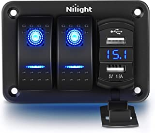 Nilight - 90116C 2 Gang Rocker Switch Panel with 4.8 Amp Dual USB Charger Voltmeter Waterproof 12V-24V DC Rocker Switch wi...