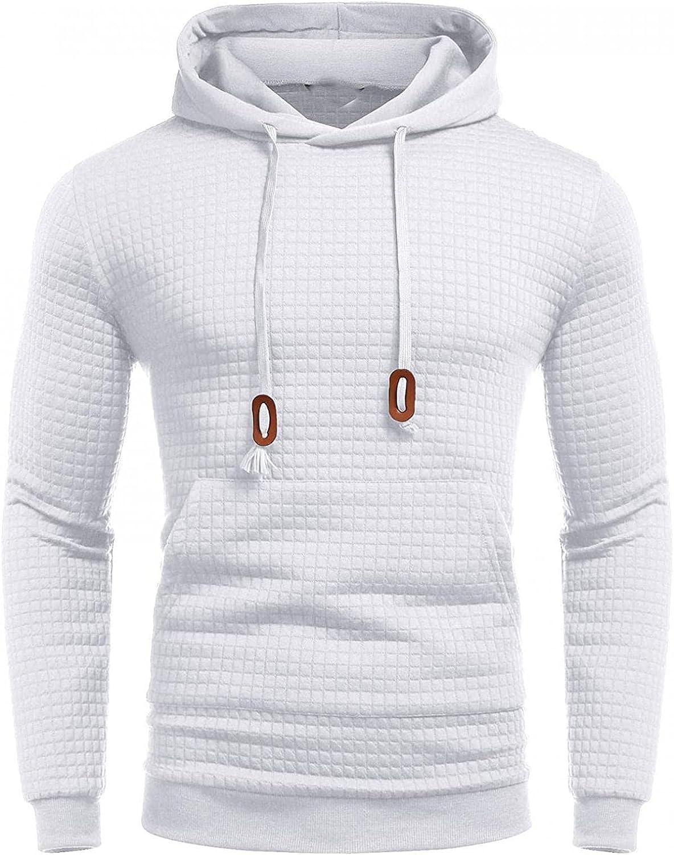 Hoodies for Men Men's Autumn Slim Casual Plaid Long Sleeve Sweatshirts Top Blouse Fleece Hooded Fashion Sweatshirt Hoodies