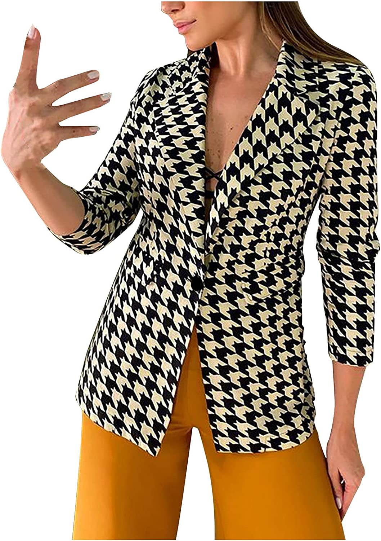 Women's Casual Long Sleeve Houndstooth Printing Turndown Collar Fashion Jacket Coat Coat