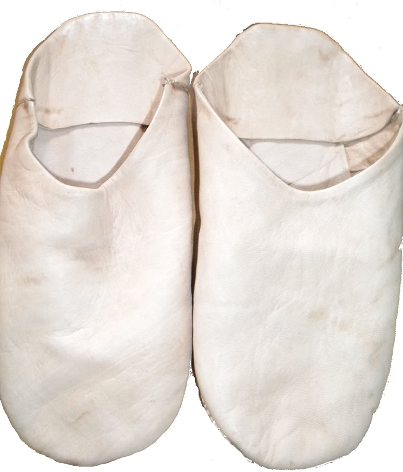 Fair Trade Mgoldccan Slippers   Babouche   Loafers 100% Traditional Mgoldccan Leather (40, White)