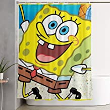 LZZAD Sponge-bob Shower Curtain Polyester Fabric Waterproof Bathroom Decor Set Washable with 12 Hooks, 60 X 70 Inch