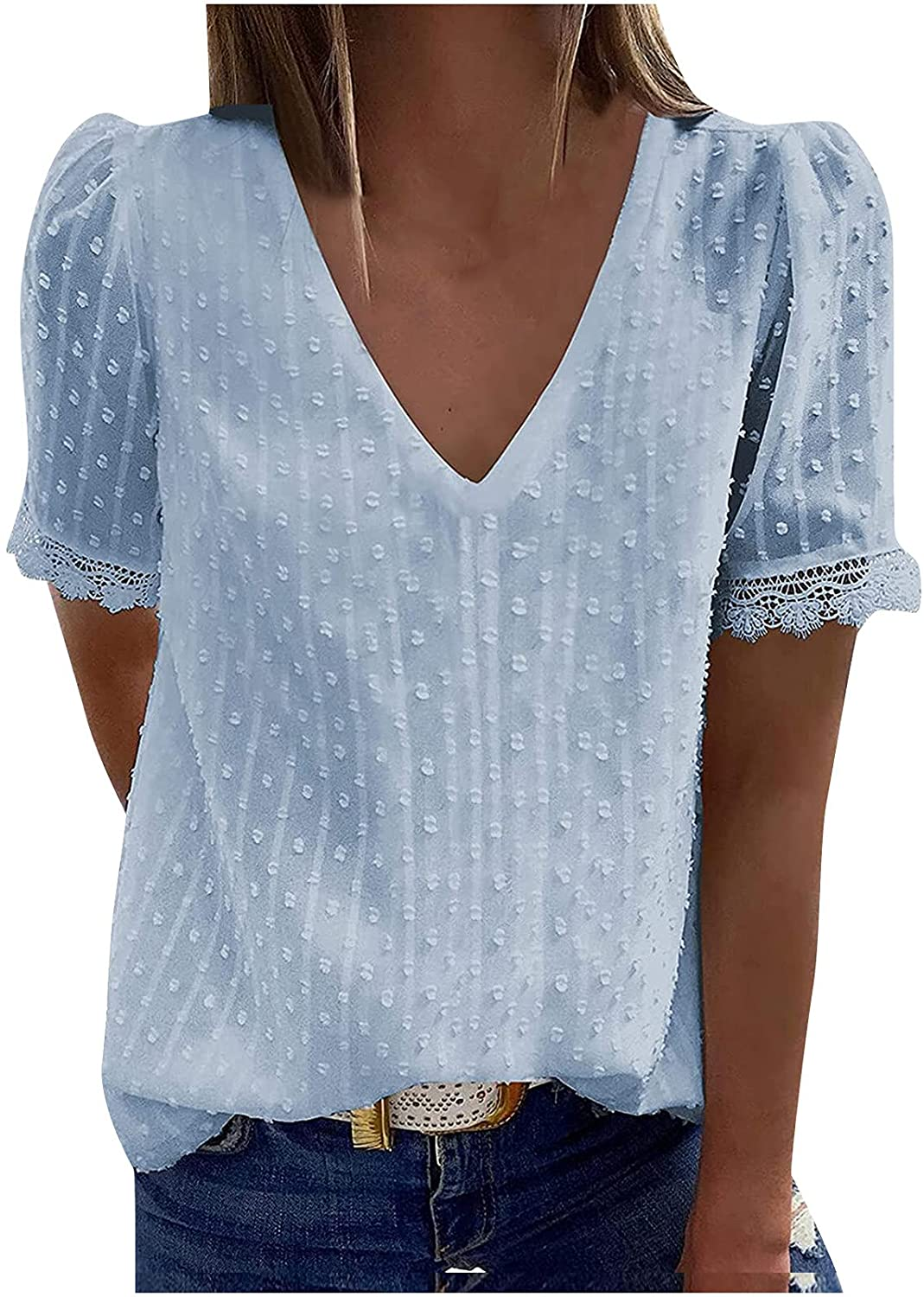 Fashion Women Casual Solid Short Sleeve V-Neck Lace T-Shirt Blouse Tops