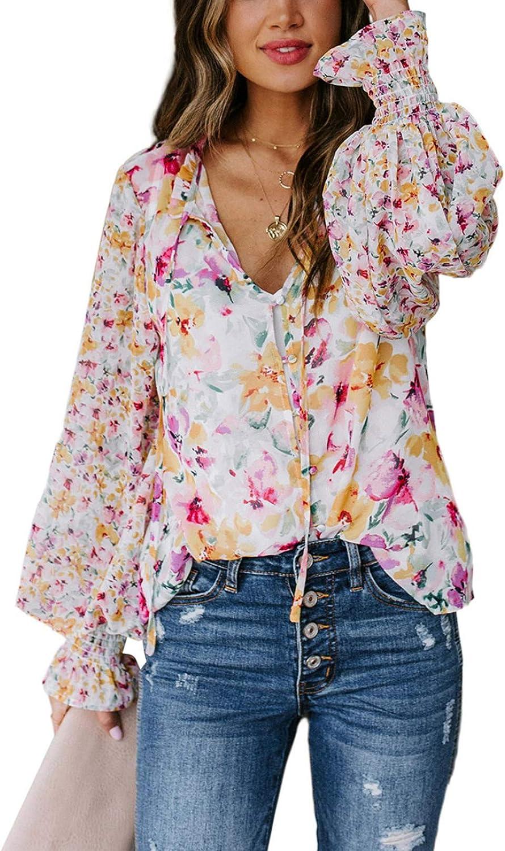 Dokotoo Women's Casual Boho Floral Printed V Neck Tops Drawstring Short Long Sleeve T Shirt Blouses