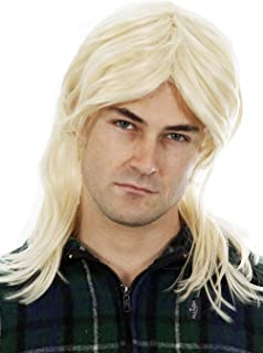 Blonde Mullet Wigs for Men 80s Costumes Mens Mullet Wig Merica Blonde Brown Black Joe Dirt White Trash Costume Accessories