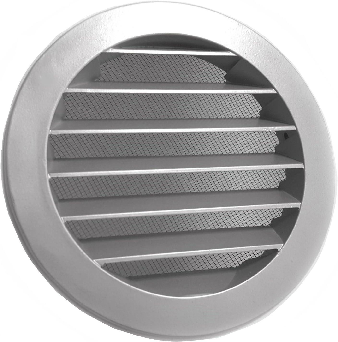 Rejilla de aireaci/ón color negro y gris DN: 100, 125, 150/160/200, aluminio con mosquitera Gris