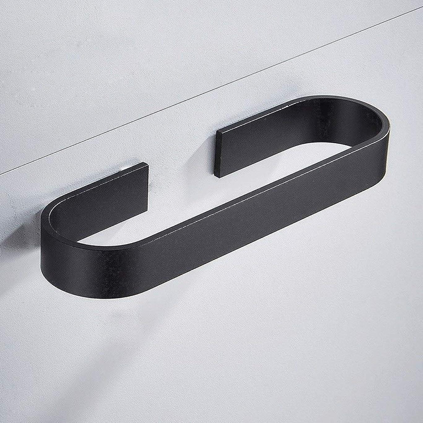 ゴージャス規範無線GWM タオル タオルホルダー、ウォールマウントステンレススチール製バスルームタオルバー、タオルラック自己接着、穴あけなし、スペースアルミニウム、黒 (Size : 30cm)