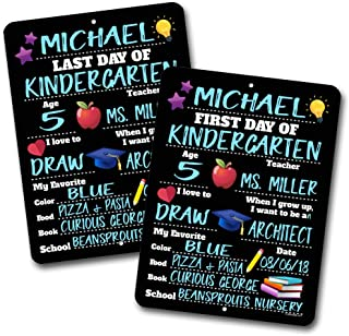 First and Last Day of School HDG-1147 ( Set of 2 ) Chalkboard Style Photo Prop Tin Signs 9 x 12 inch - Reusable Easy Clean Back to School, Customizable with Liquid Chalk Markers (Not Included)