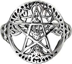 Sterling Silver Cut Out Pagan Tree Pentacle Ring (Size 5-12)