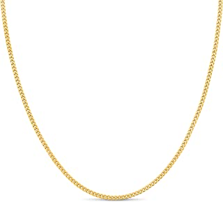 Kezef Gold Plated 925 Sterling Silver 1.8 mm Curb Chain Necklace Bracelet Anklet