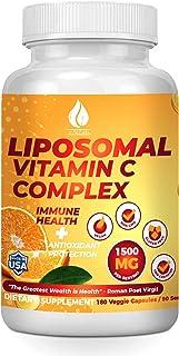 Liposomal Vitamin C 1500mg - 180 Capsules - Best Pure Fat Soluble Ultra High Absorption Ascorbic Acid Vitamins C Complex, ...